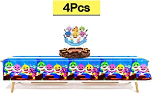 AWESMR 2 Packs of 70 x 42 Inches Baby Shark Tablecover Disposable Party Decoration Table Cloth and Cake Topper for Birthday Baby Shower Event Party Supplies