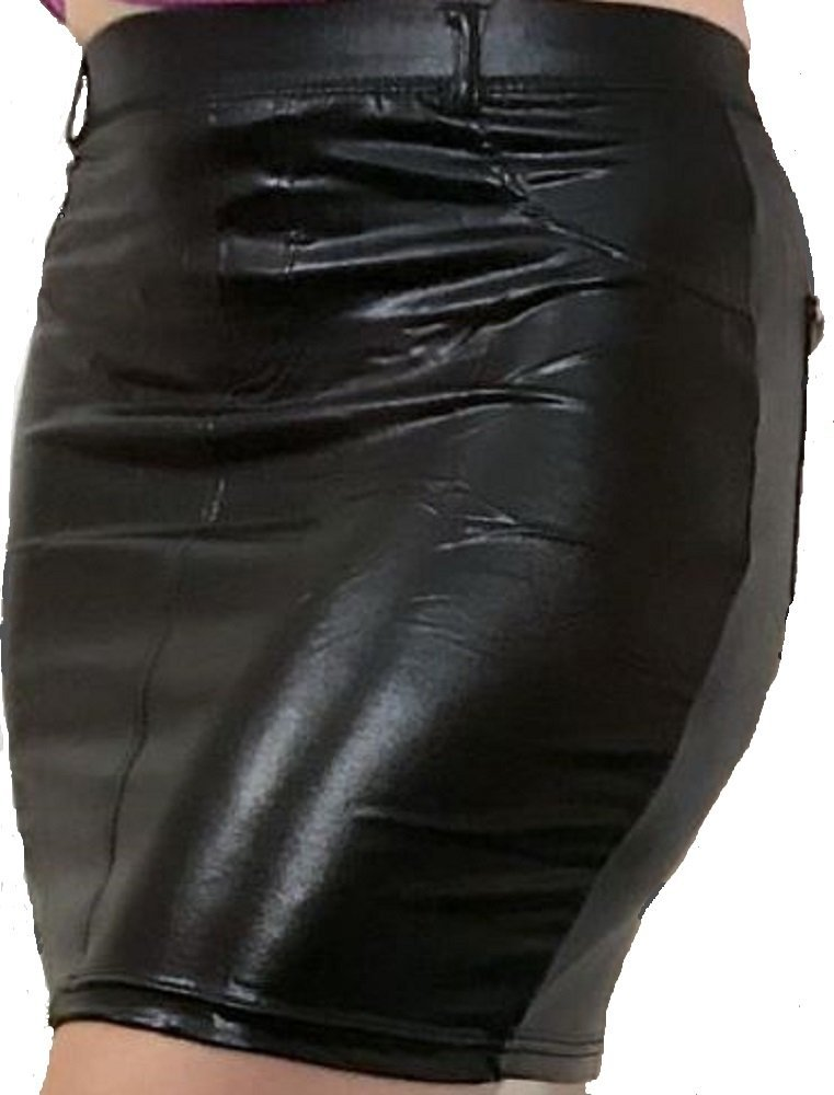 CRD Gallery Flowers Womens Leather Faux Fitted Bodycon Love Mini Skirt (Small/Medium)