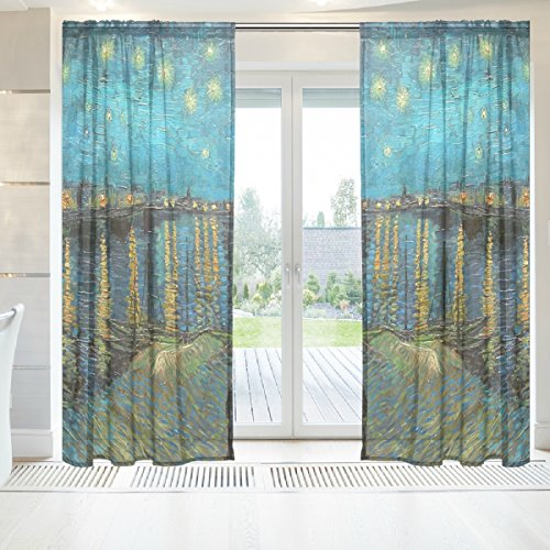 INGBAGS Van Gogh Starry Night Over The Rhone Voile Window Long Sheer Curtain 2 Panels Cat With Butterfly Scenery Print Tulle Polyester for Door Window Room Decoration 55x78 Inch ,Set of 2 (Rhone Blend Style)