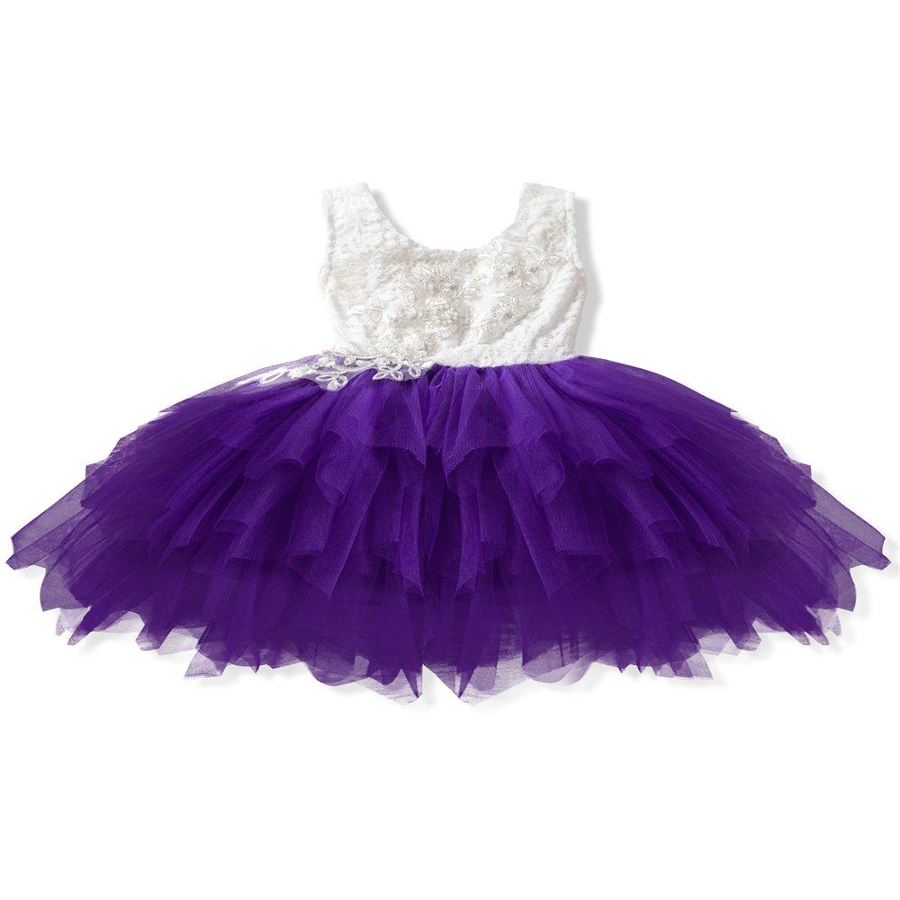 eleganceoo Girl Dress Kids Ruffles Lace Party Wedding Dresses(Purple 130cm(5 Years))