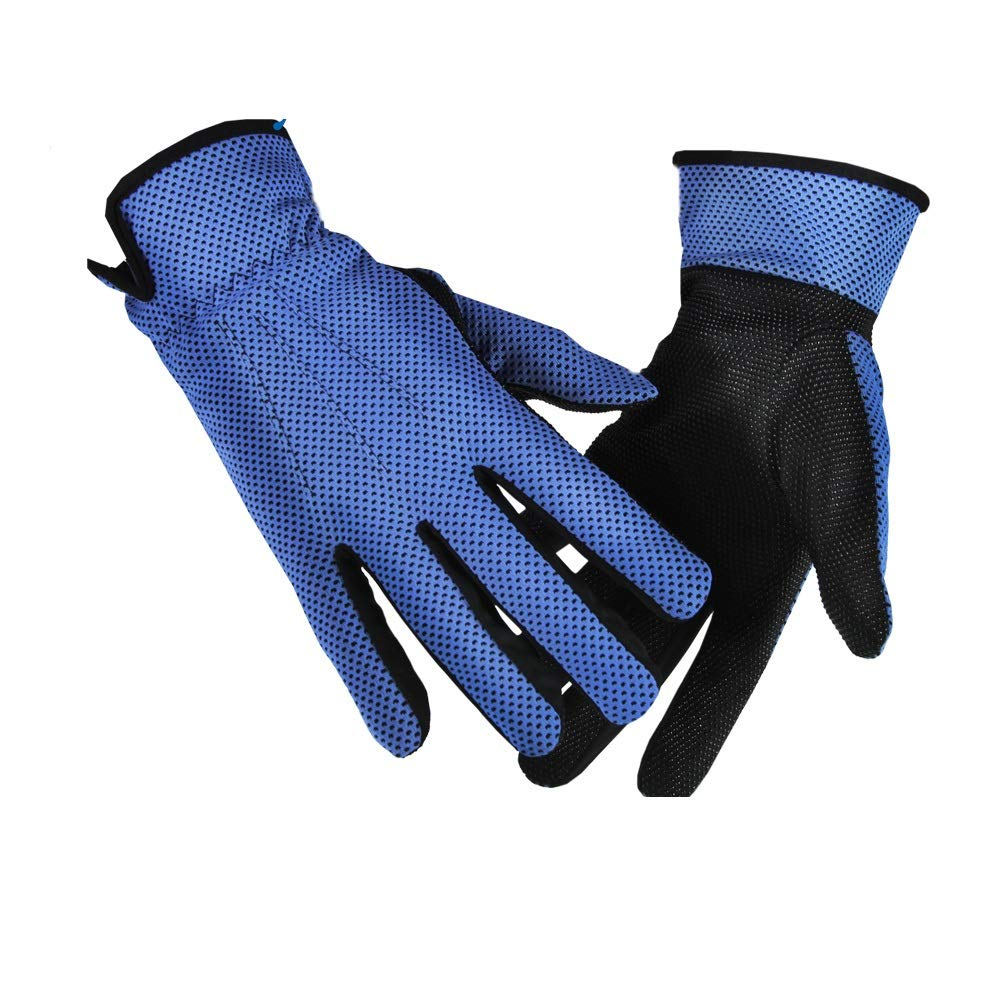 Comfortable Sun Protection Sun Protection Gloves UV Protection UPF50+ Breathable Wicking Sun Protection Gloves Durable (Color : Deep Blue, Size : L-Five Pairs)