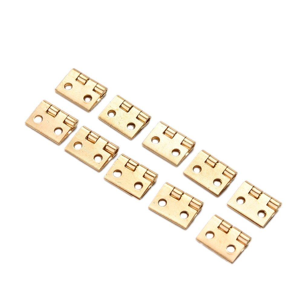 SODIAL 12pcs Mini Charnieres pour 1//12 Armoire Placard Miniature de Maisons de Poupees R dor