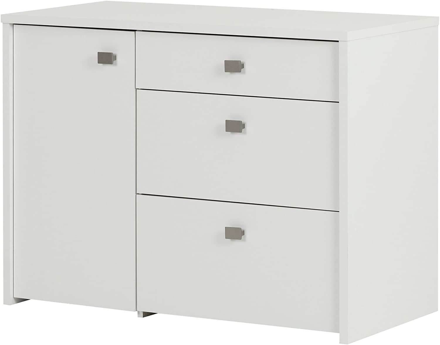 South Shore 1-Door Office Storage Unit with File Drawer, Pure White