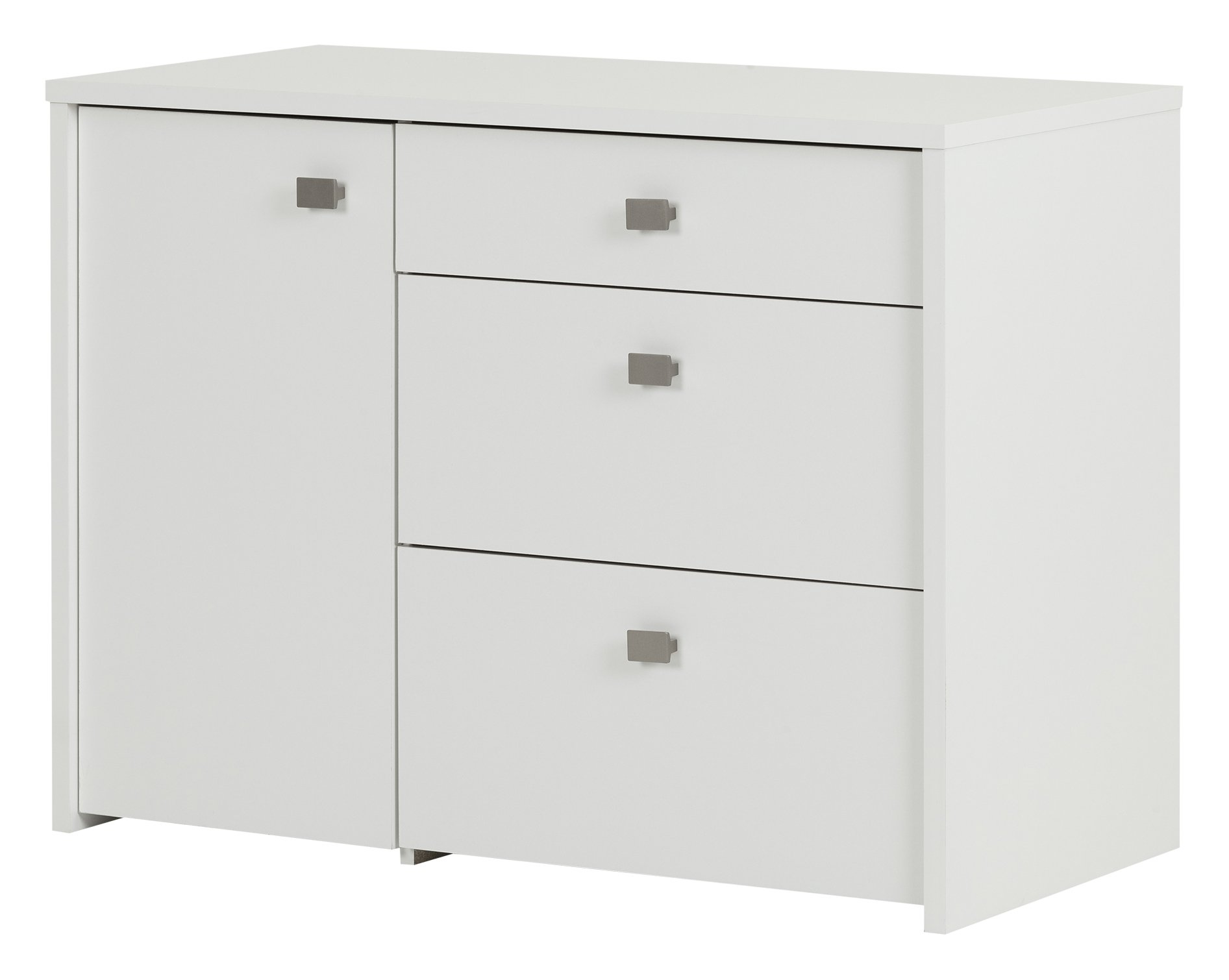 South Shore 10538 1-Door Office Storage Unit with File Drawer, Pure White