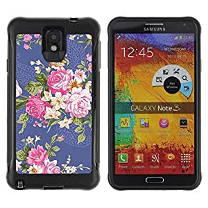 LASTONE PHONE CASE / Suave Silicona Caso Carcasa de Caucho Funda para Samsung Note 3 / fabric cloth begonia rose floral flower