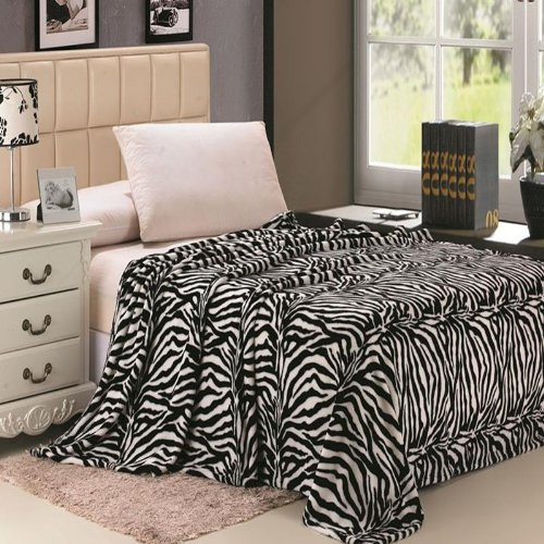 Plaza Tex Corp Animal Prints MicroPlush Zebra Queen Blanket Black & Off White