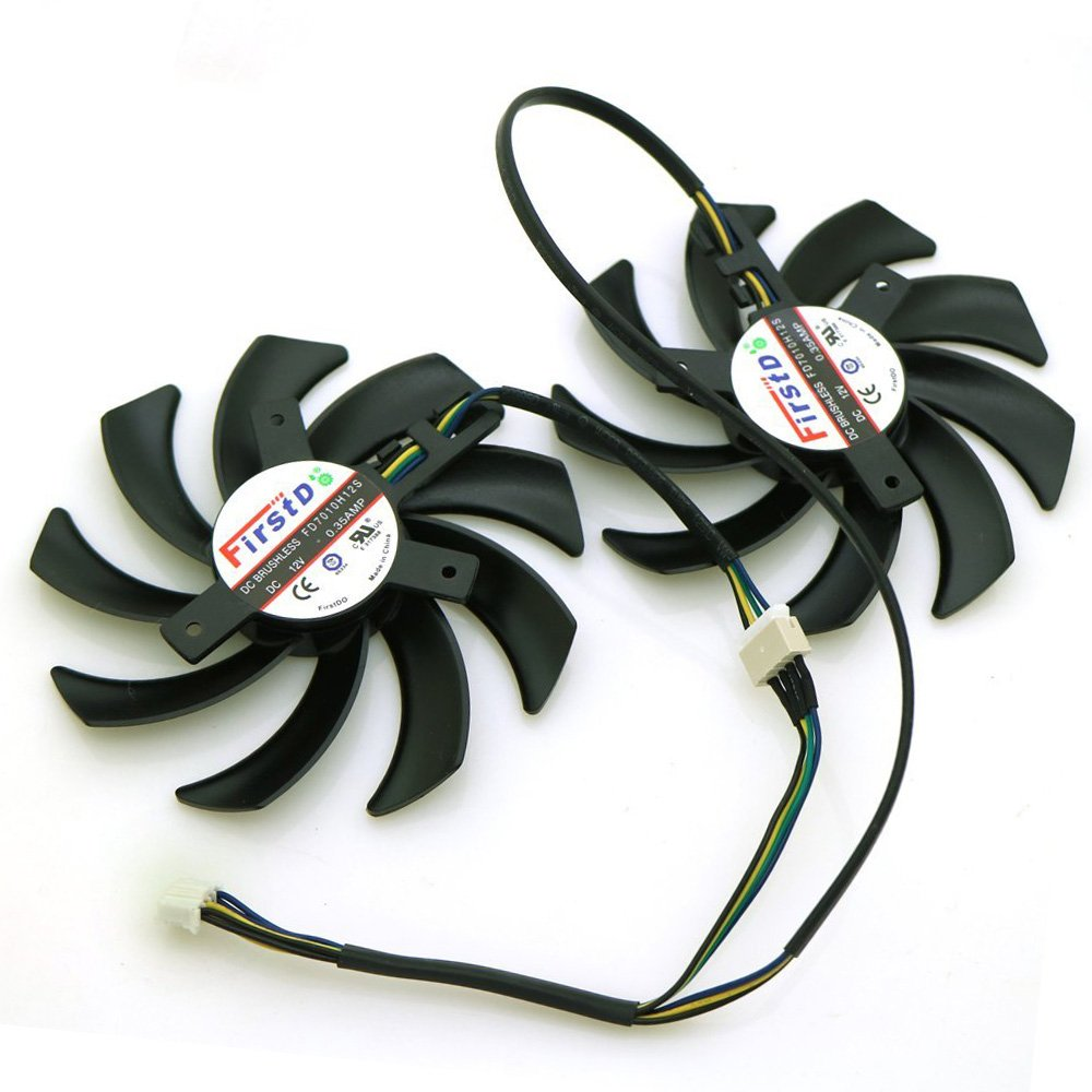 Tebuyus Replacement Video Card Cooling Fan For R9-280X R9-270X HD6970 HD7870 HD7950 HD7970 Graphics Card Fan FDC10H12S9-C 12V 0.35A 84mm 4 Pin