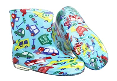 07e7b2f9cc2 Amazon.com | Panda Superstore Cute Starry Kids' Rain Boots Green Bus ...