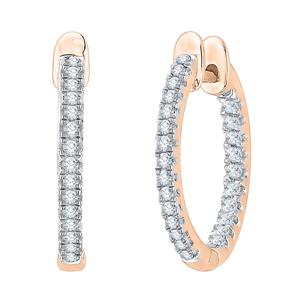 3//4 cttw, G-H, I2-I3 KATARINA DiamondIn and Out Hoop Earrings in 14k Rose Gold