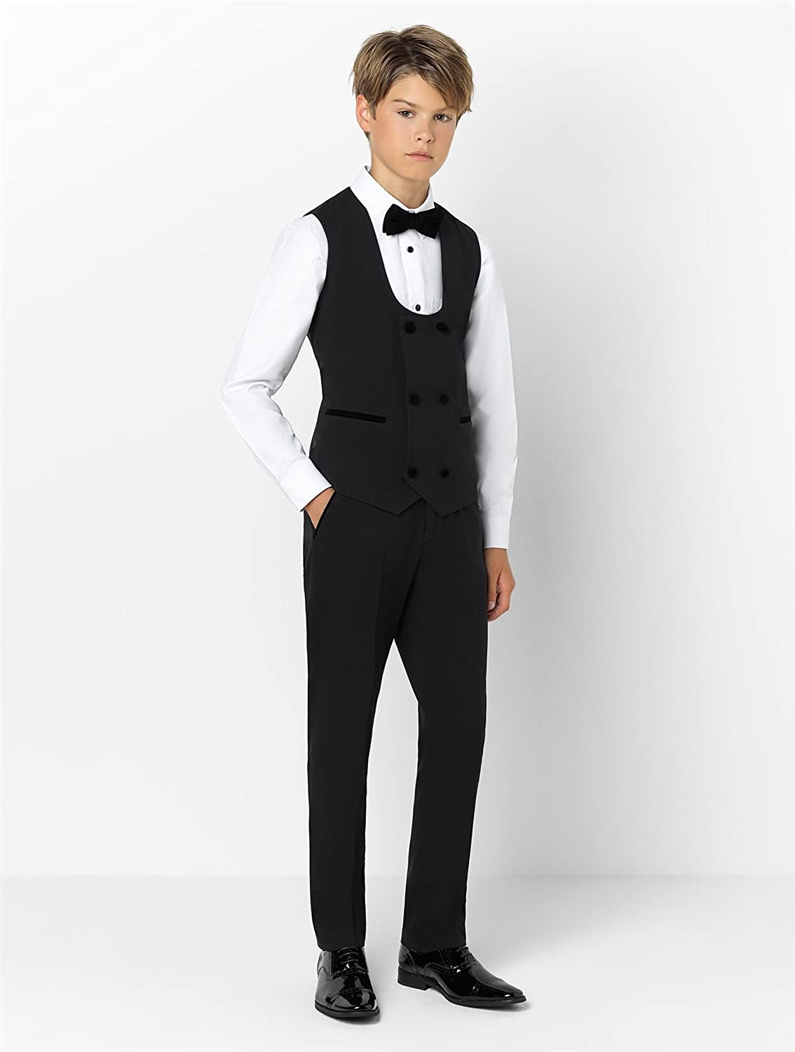 Paisley Of London Boys Luxury Black Prom Suit Double Breasted