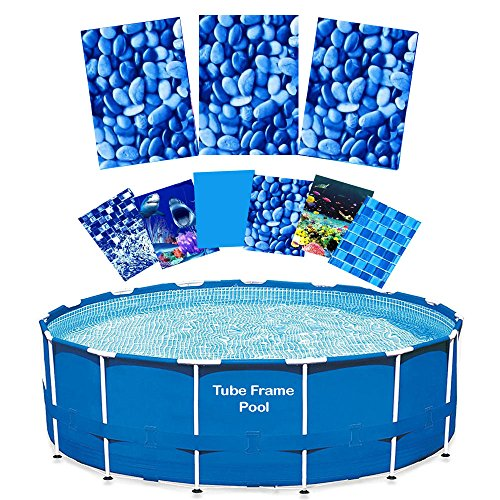 Quality Pool Products 15' Replacement Relining Kit for Tube Frame Swimming Pools - Pebble Valley HD Design - Includes Overlap Pool Liner & Clips for Round Tubular Frame Pools