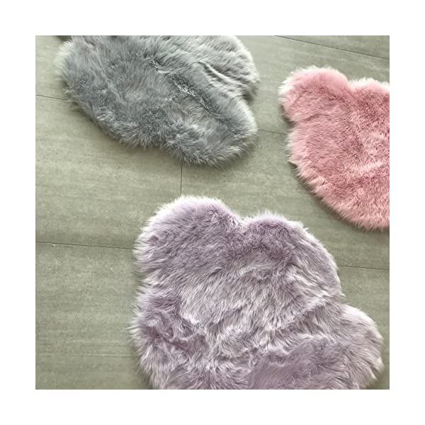 Machine Washable Faux Sheepskin Lavender Cloud Area Rug 32″ x 44″ – Soft and Silky – Perfect for Baby's Room, Nursery, playroom (2′ 7″ x 3′ 7″) – Lavender Cloud