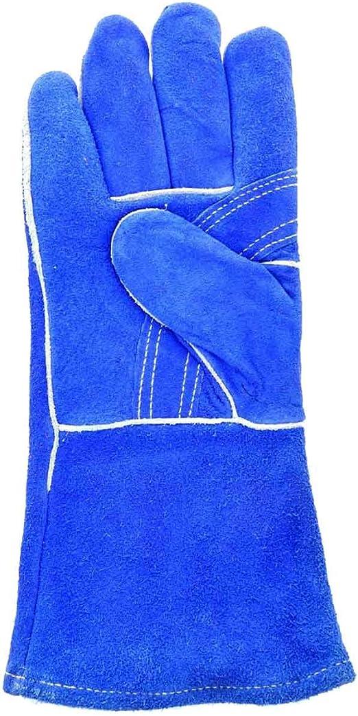 """Red Split Shoulder Leather Welding Gloves 14/"""" Size Large Reinforced Thumb"""