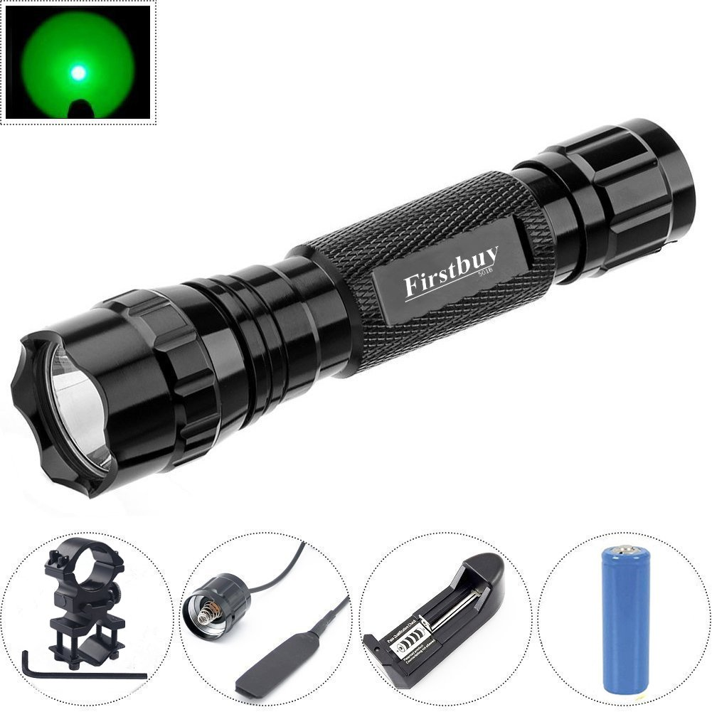 Exceptional Amazon.com: Hunting Flashlight, Firstbuy LED Green Light Coyote Hog Pig  Varmint Predator LED Tactical Flashlight With Rail Mount Remote Pressure  Switch ... Awesome Ideas
