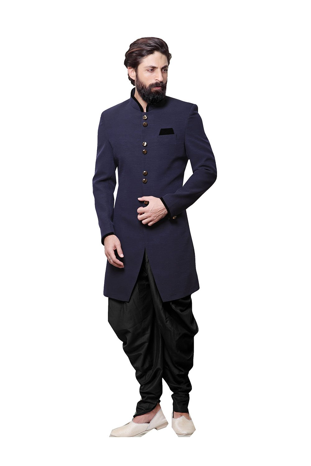 PinkCityCreations Indian Designer Partywear Ethnic Blue Color Fancy Fabric Mens Indo Western