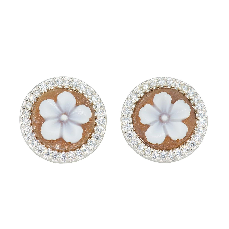 Floral Cameo Earrings - A Floral/Fantasy Sardonyx Shell Cameo Earrings 14mm