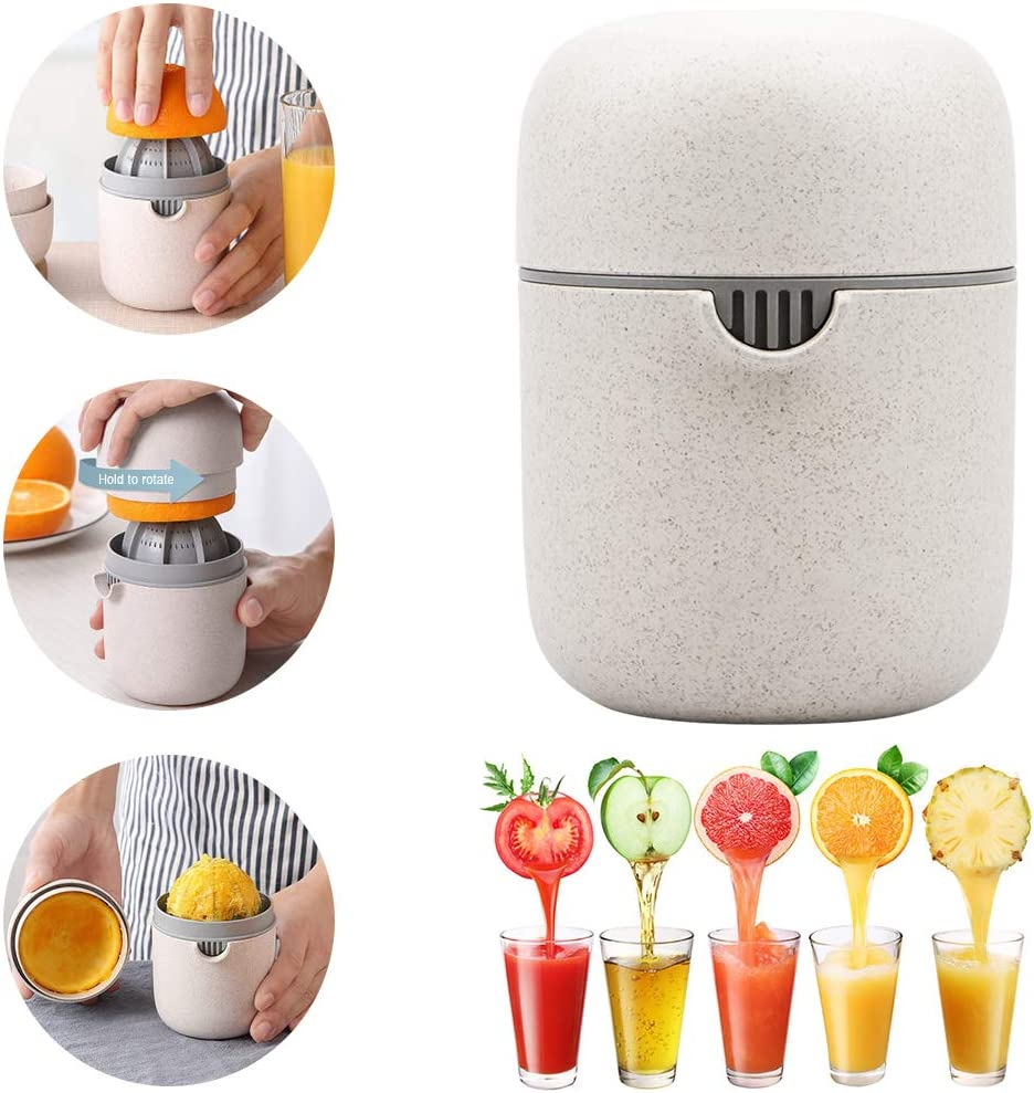 Manual Juicer Citrus Lemon Orange Hand Squeezer Hand Juicer Citrus Squeezer Manual Hand Juicer Lid Rotation Press Anti-Slip Reamer with Strainer and Container, Wheat Color (Wheat Color)