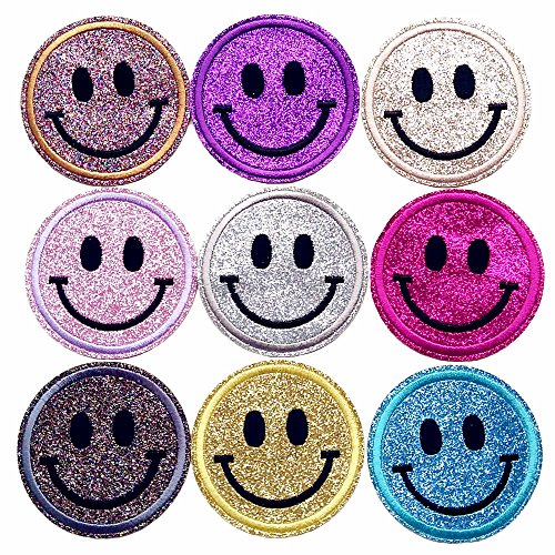 Qingxi Charm 18pcs Shiny Spark Smile Face Sewing on/Iron on Embroidered Patches Clothes Dress Hat Pants Curtain Sewing Decorating DIY Craft Embarrassment Applique Patches (Smile Face 18pcs) ()