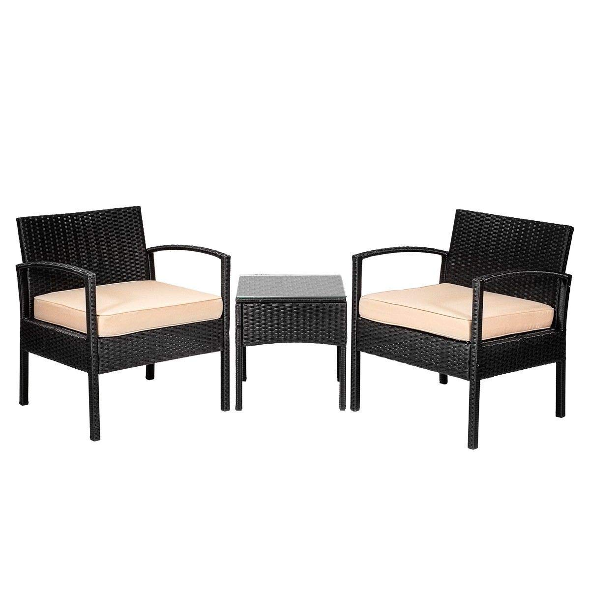 9TRADING 3 PC Rattan Wicker Furniture Table Chair Sofa Cushioned Patio Outdoor Gardening