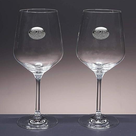 Aplique bilaminado. Bodas de Plata//Oro colecci/ón ATELIER-25 Aniversario Aniversarios Set//Estuche de 2 Copas de Vino o Agua para Novios