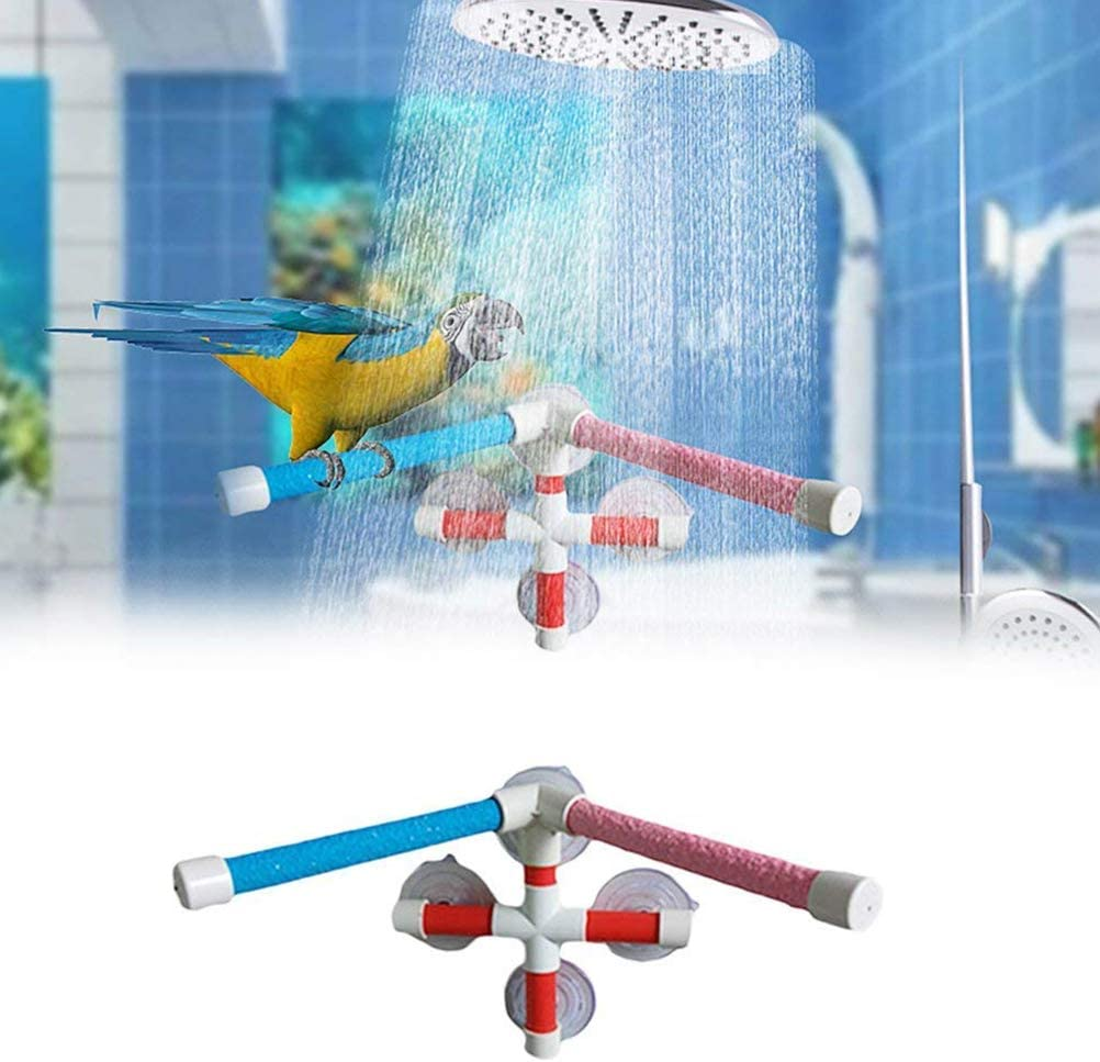 Hihey Parrot Shower Rod Portable Double Bird Suction Cup Shower Perch Stand with Four Suction Cups Self Adhesive Bathroom Accessory
