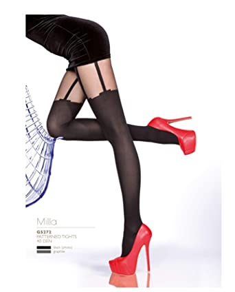 e47fcff7d2a Milla 40 Denier Sexy Hold-up Mock Suspender Pattern Tights by Fiore Hosiery  (Black