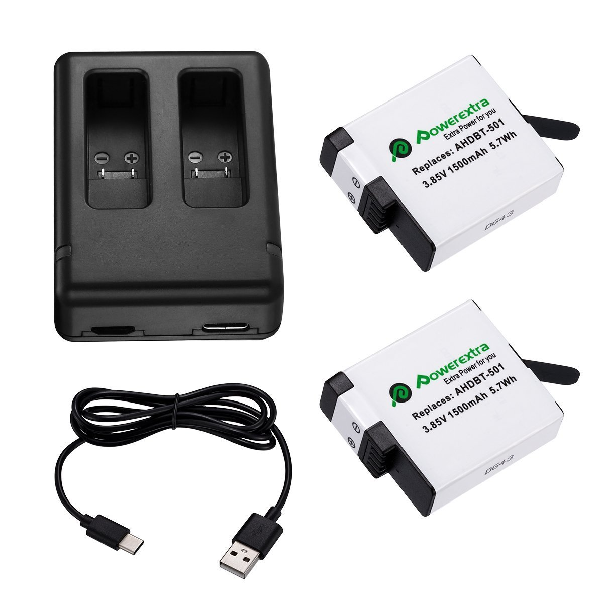 Powerextra Upgraded 2 Pack Battery with Dual Charger for GoPro HERO (2018) GoPro HERO 6 GoPro HERO 5 Black (Compatible with Firmware v02.60, v02.51, v02.00, v01.57, v01.55, 1.60 and Future Updates)