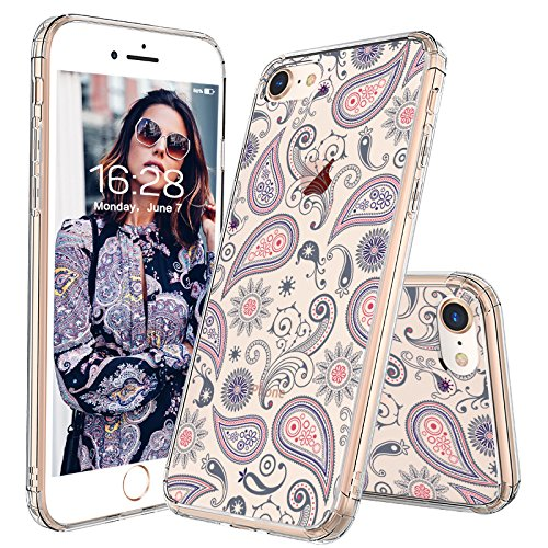 iPhone 8 Case, iPhone 7 Case, MOSNOVO Paisley Floral Flower Clear Design Pattern Slim Transparent Plastic Hard with TPU Bumper Protective Back Phone Case Cover for iPhone 7 (2016) / iPhone 8 (2017)