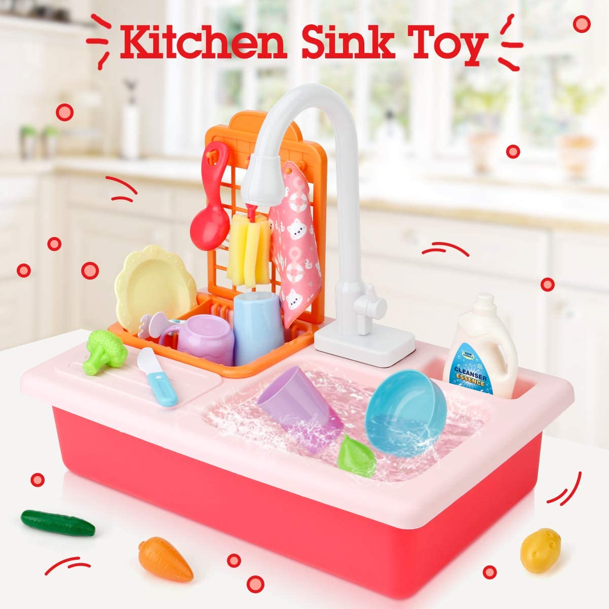 Elf Lab Kitchen Sink Toys Set,Electric Dishwasher Play Sink with Running Water,Kitchenwear Toys,Pretend Play House Toys Accessories,Kitchen Accessory Set for Toddlers Kids Boys and Girls(Pink)