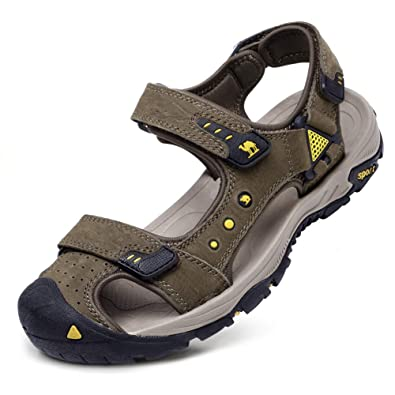 9a4df3774 CAMEL CROWN Men s Leather Sandals Waterproof Hiking Sandals for Men Closed  Toe Adjustable Strap Athletic Outdoor Water Shoes for Men Travel Sport Beach  ...