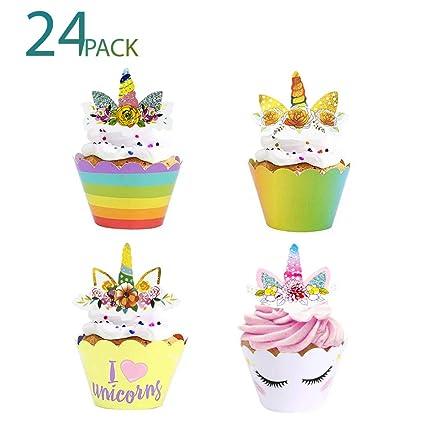 24 piezas de adornos de unicornio para cupcakes y ...