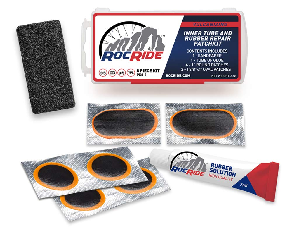 RocRide 8 PC Bike Inner Tube Patch Kit. Bicycle Tire Repair Kit. (20) by RocRide