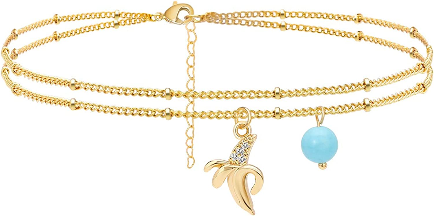 Estendly Dainty Fruit Double Layered Anklet Beads Ankle Bracelet Minimalist Summer Beach Anklet for Women