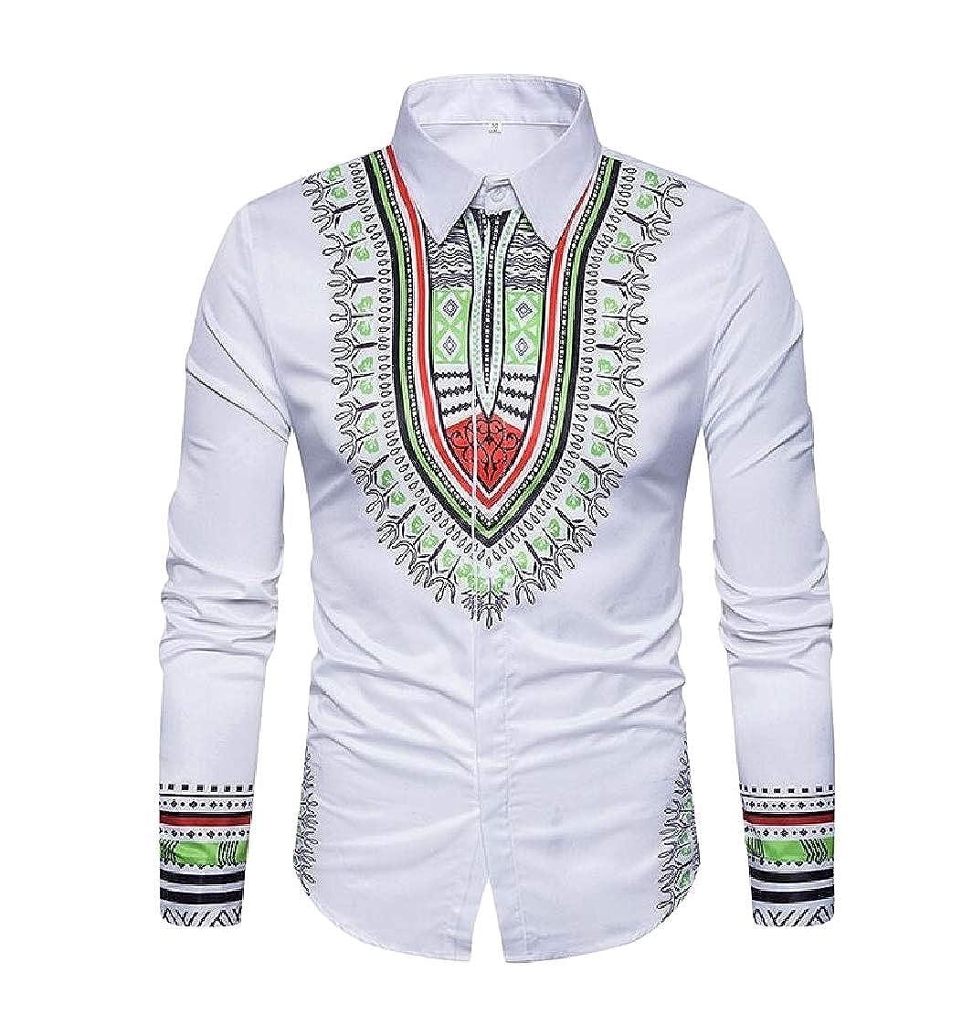 GloryA Mens Button Down Juniors Lapel Print Top Long-Sleeve Shirt