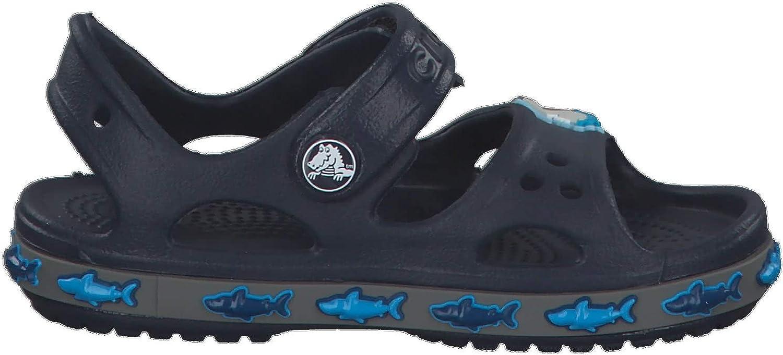 Crocs FunLab Shark Band Sandale pour Enfant Bleu Marine Croslite