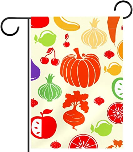 Lyetny Fruit And Vegetable Pattern Home Decorative Flags Garden Yard Flag Polyester Fabric 12x18 In Garden Outdoor