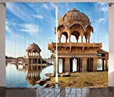 Asian Decor Collection Gadi Sagar Lake Tourist Attractions in Jaisalmer Rajasthan North India Picture Print Living Room Bedroom Curtain 2 Panels Set Ivory Blue