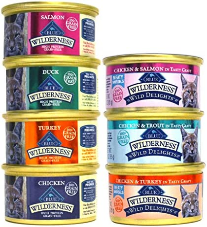 Blue Buffalo Wilderness Grain-Free Cat Food Variety Pack Box - 7 Flavors (4 Classic Flavors & 3 Wild Delights Flavors) - 21 (3 Ounce) Cans - 3 of Each Flavor 2