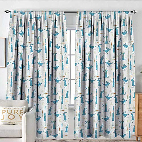 NUOMANAN Curtains for Living Room Rabbit,Bunny with Carrot Funny Cheerful Rodent Pattern Running Jumping Sitting,Orange Blue and Green,Decor Collection Thermal/Room Darkening Window Curtains 84
