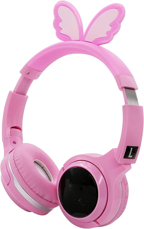 Kids Wireless Headphones, Bluetooth Headphones with Microphone for Kids, Adjustable Headband Headphones,SD Card Slot 3.5mm Audio Jack Over-Ear Kids Headphones for School, Home, Travel.(Pink)