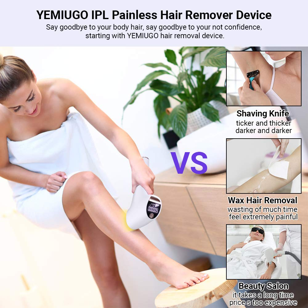 IPL Hair Removal for Women & Men, Facial Body Permanent Painless Hair Remover System 500,000 Flashes Home Hair Remover for face, Legs, Bikini & Underarm