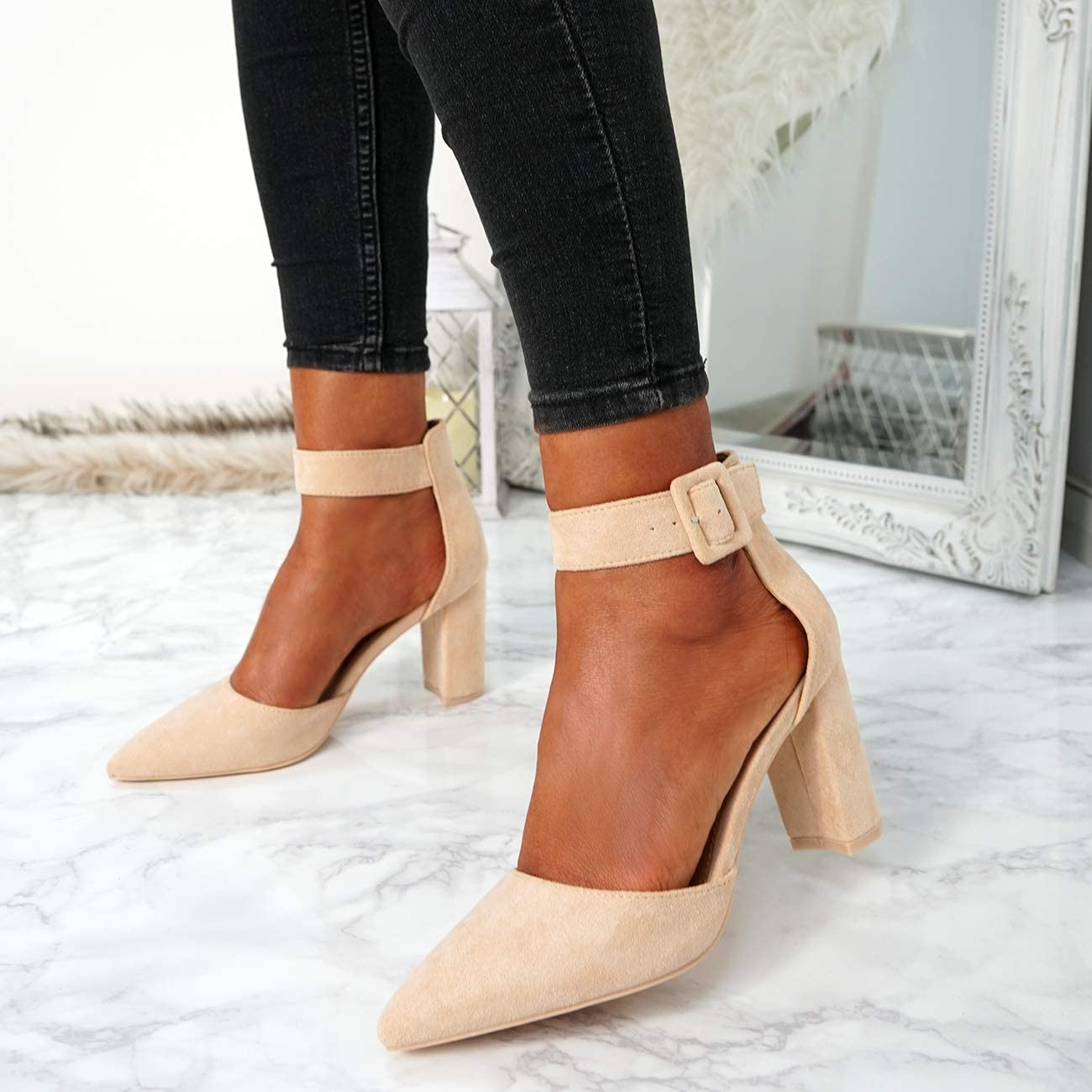 CucuFashion Sandalen mit Blockabsatz und spitzem Absatz