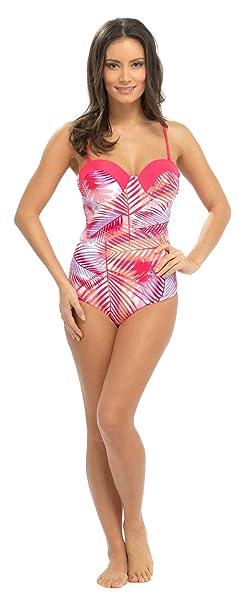 Ladies Tropical Swimming Costume Bathing Swimsuit Halterneck Detachable Straps