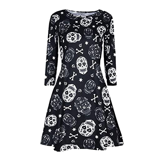 kaifongfu Halloween Dress for Women Long Sleeve Printing Evening Party Prom Dress(Black,S