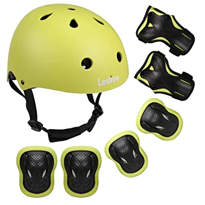 Ledivo Kids Adjustable Helmet Suitable for Ages 3-8 Years Toddler Boys Girls, Sports Protective Gear Set Knee Elbow Wrist Pads for Bike Bicycle Skateboard Scooter Rollerblading : Sports & Outdoors