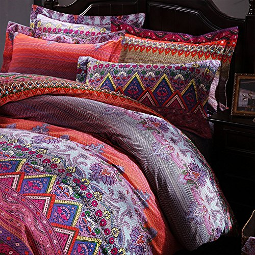 FADFAY Colorful Bohemian Ethnic Style Bedding Boho Duvet Cover Bohemian Sheet Sets Baroque Style Bedding 4 Pcs (Twin XL, Flat Sheet) by FADFAY (Image #5)'