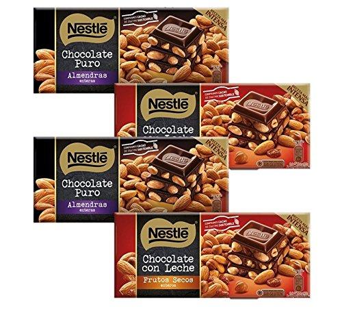 Nestlé Chocolate - Pack de 2 Chocolate Negro con Almendras (200 g) + Pack