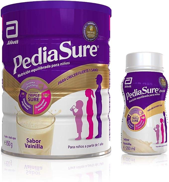PediaSure Pack de 2 Complemento Alimenticio para Niños con Proteínas, Vitaminas y Minerales, Sabor Vainilla - 850 gr + 4 x 200 ml