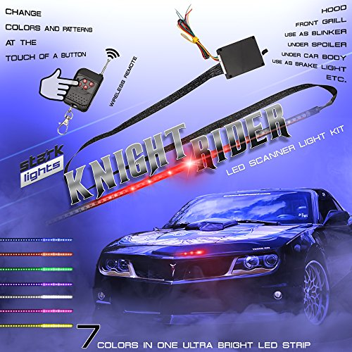 Rider Knight (48 LED RGB Knight Rider Scanner DRL Multi Color Flash Car Strobe 7 Color Universal Light Kit Strip 22 Inch)
