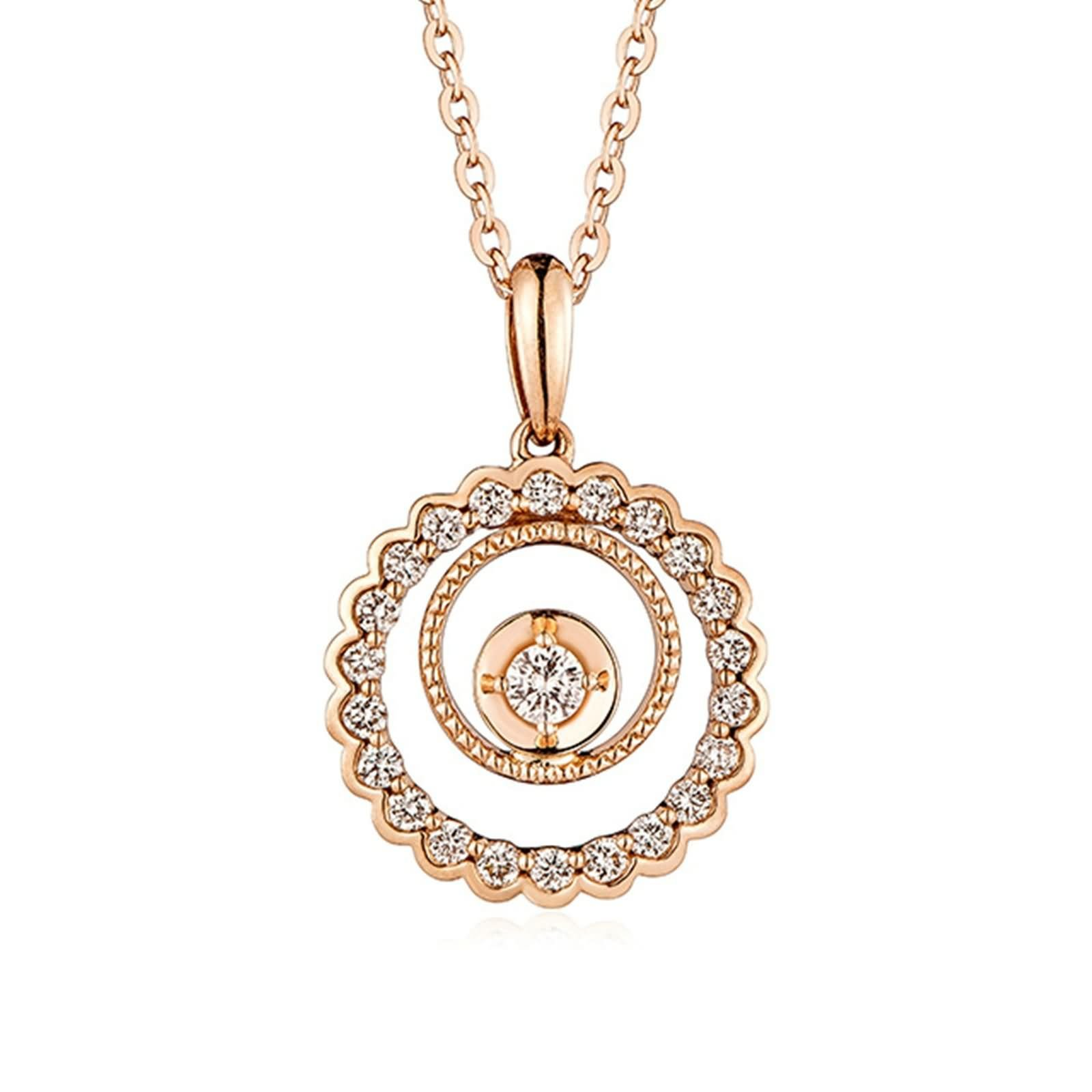 Real 18K Rose Gold Diamond Pendant Circle Necklace Birthday Women Jewelry Gift